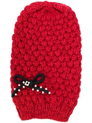 Twin Set Chunky Knit Bow Beanie Women Cotton Acrylic One Size Red