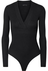 Atm Anthony Thomas Melillo Wrap Effect Ribbed Stretch Micro Modal Thong Bodysuit Black