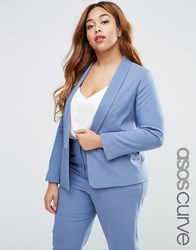 Asos Curve Blazer In Crepe With Slim Lapel Coord Grey Blue