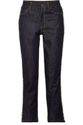 Paul And Joe Faux Pearl Embellished Mid Rise Straight Leg Jeans Dark Denim