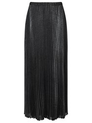Jacques Vert Foil Pleat Maxi Skirt Metallic Silver