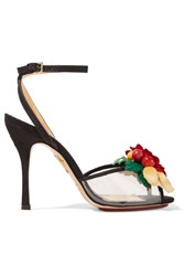 Charlotte Olympia Tropicana Embellished Canvas And Pvc Sandals Black
