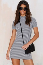 Nasty Gal After Party Vintage Lined Up Ribbed Dress
