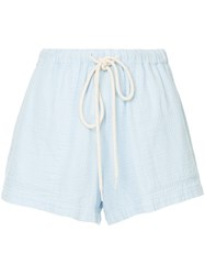 Bassike Washed Herringbone Beach Shorts Blue