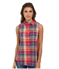 Woolrich Sunbury Sleeveless Madras Shirt Legion Blue Multi Women's Sleeveless