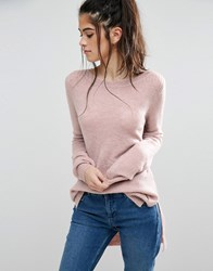 Only Orleans High Low Knit Jumper Rose Pink
