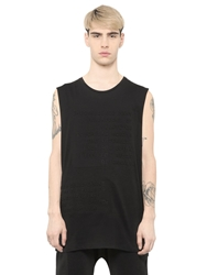 Blood Brother Text Embossed Sleeveless Cotton T Shirt Black
