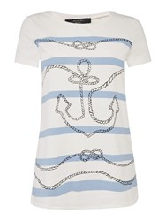 Max Mara Eufrate Short Sleeve Anchor Print T Shirt Optical White