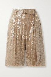 Sally Lapointe Belted Paillette Embellished Georgette Shorts Light Brown