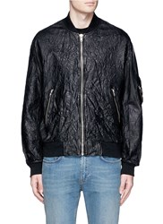 Mcq By Alexander Mcqueen Crinkled Lambskin Leather Bomber Jacket Black