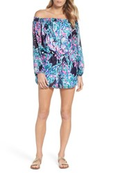 Lilly Pulitzerr Women's Pulitzer Off The Shoulder Romper Bright Navy Caught Up