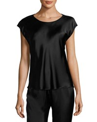Josie Natori Cap Sleeve Silk Lounge Top Black