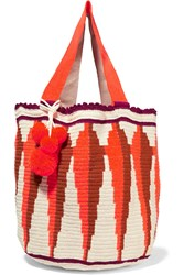 Sophie Anderson Jonas Crocheted Cotton Tote Papaya