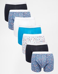 Asos Trunks 7 Pack With Ditsy Floral Print Save 31 Blue