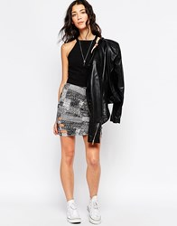 Rvca Cut Out Detail Bodycon Skirt Black