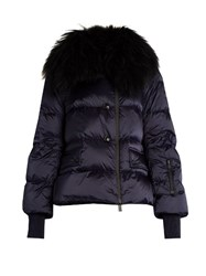 Moncler Rumier Fur Trimmed Nylon Jacket Navy
