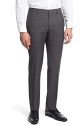 Hugo Boss 'Genesis' Flat Front Plaid Wool Trousers Gray