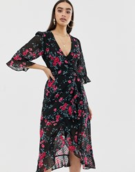 Fashion Union Plunge Front Midi Dress In Dobby Floral Black