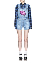 Forte Couture 'Le Bon' Glitter Lip Patch Denim Short Overalls Blue