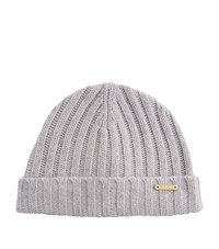 Burberry Shoes And Accessories Wool Cashmere Ribbed Beanie Female Grey