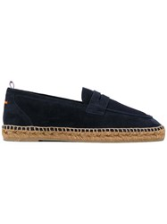 Castaner Loafer Style Espadrilles Men Raffia Leather Suede Rubber 44 Blue