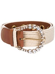 Ermanno Scervino Embellished Buckle Belt Women Cotton Calf Leather 80 Nude Neutrals