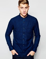 New Look Shirt With Long Sleeves In Textured Cotton Blue