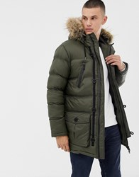 Brave Soul Puffer Parka Jacket With Hood. Green