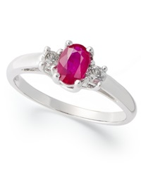 Macy's 14K White Gold Ring Ruby 1 2 Ct. T.W. And Diamond 1 8 Ct. T.W 3 Stone Ring
