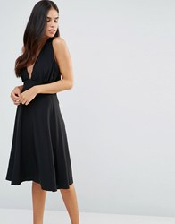 Hedonia Halterneck Midi Skater Dress Black