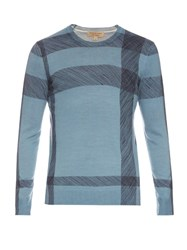 Burberry Thompsons Crew Neck Wool Sweater Light Blue