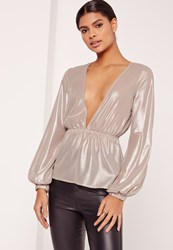 Missguided Metallic Foiled Plunge Neck Blouse Silver Gold
