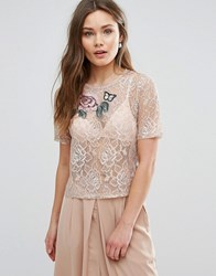 New Look Floral Applique Lace Top Mid Pink