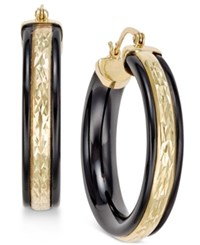 Macy's Onyx Hoop Earrings 26 Ct. T.W. In 14K Gold Black