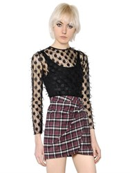 Giamba Fil Croup Dots Tulle And Plaid Wool Dress