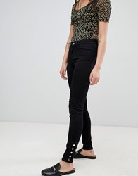 Pieces Five Betty Mid Rise Skinny Jeans With Ankle Studs Black