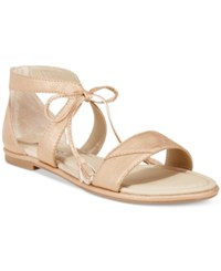 Rialto Robyn Lace Up Flat Sandals Women's Shoes Rose Gold