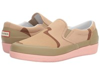 Hunter Original Canvas Plimsoll Desert Camo Pale Sand Pink Sand Women's Shoes Beige