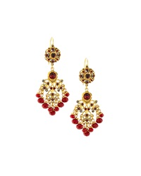 Jose And Maria Barrera Crystal Chandelier Drop Earrings Red