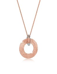 Rebecca R Zero Rose Gold Over Bronze And Steel Long Necklace Pink