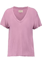Current Elliott The V Neck Distressed Linen And Cotton Blend T Shirt Lavender