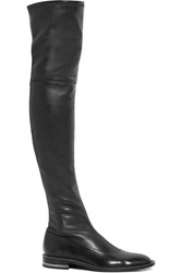 Givenchy Chain Trimmed Over The Knee Boots In Black Stretch Leather