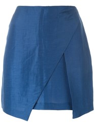 Romeo Gigli Vintage Wrap Mini Skirt Blue