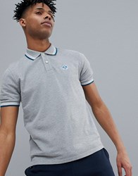North Sails Slim Fit Polo Shirt With Tipping And Logo Collar In Grey Grey Melange