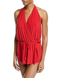 Magicsuit Bianca Halter Romper One Piece Swimsuit Plus Size Red