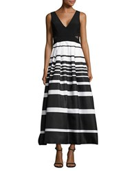 Xscape Evenings Petite Mesh Accented Striped Gown Black White