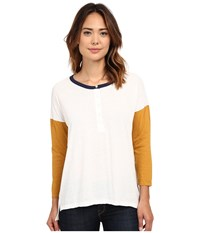 Volcom Down The Block Henley Top Buckthorn Women's Long Sleeve Pullover Beige
