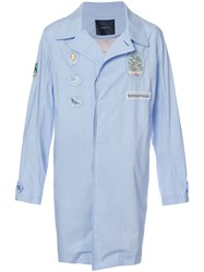 Undercover Rear Print Trench Men Cotton 3 Blue