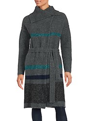 James Perse Long Belted Striped Coat Ash