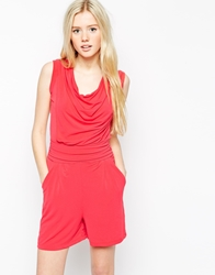 Wal G Cowl Front Playsuit Coral